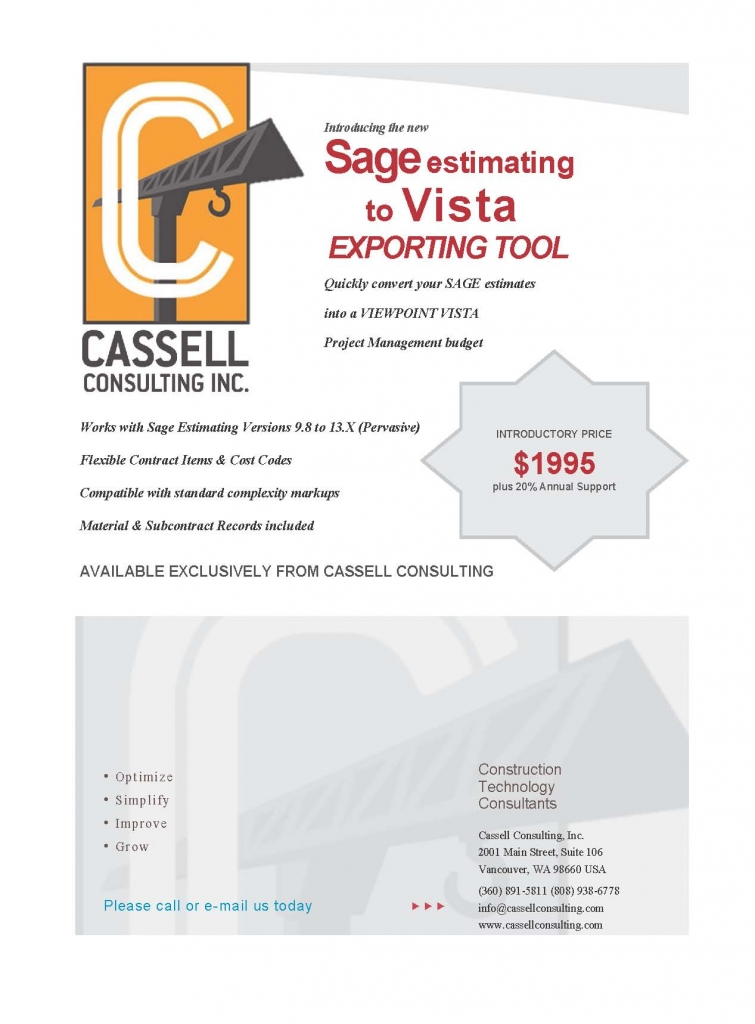 Sage to Vista export Marketing Sheet 2014